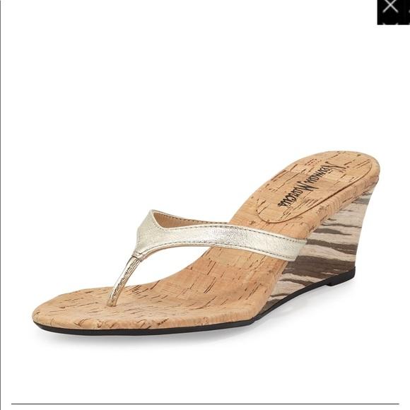 a7e44589e210b NEW Neiman Marcus Malana Marbled Wedge Sandal 10